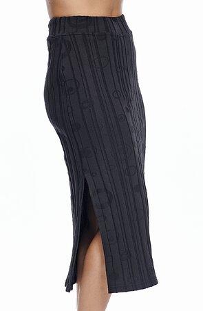 Dlouhá černá dámská sukně s vyraženým vzorem 158