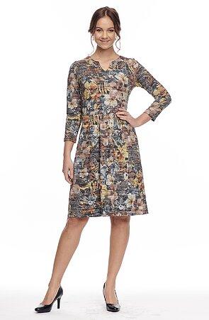 Barevné dámské šaty s 3/4 rukávy 7039