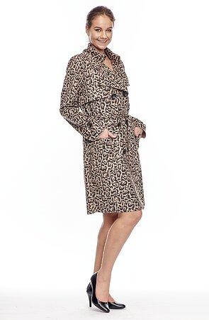 Leopardí dámský kabátek na knoflíky s páskem 7631