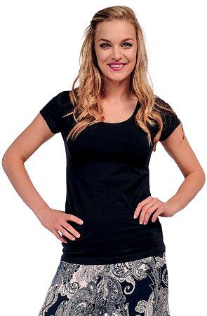 Jednoduché bavlněné černé dámské tričko 82