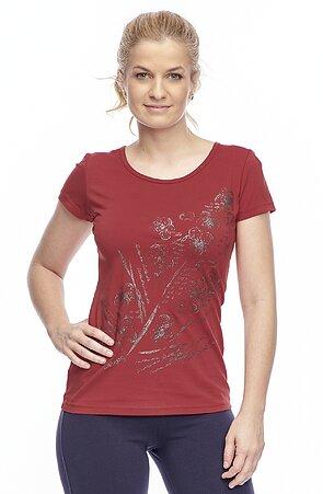 Bavlněné tmavě červené dámské tričko s potiskem 24