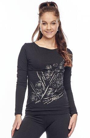 Bavlněné černé dámské tričko s potiskem 62