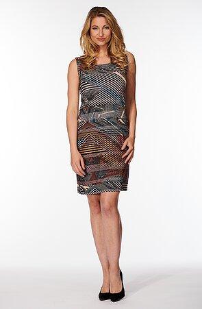 Barevné pruhované dámské šaty bez rukávů 7064