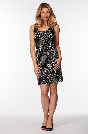 Černé dámské šaty s bílými písmeny 7182