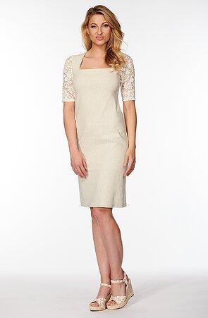 Béžové dámské šaty s krajkovými rukávy 7148