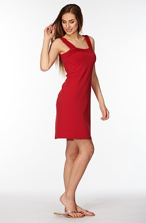 Bavlněné červené dámské šaty bez rukávů s krajkou 7061