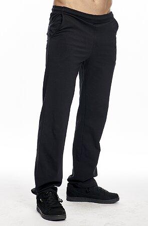 Užší bavlněné černé pánské kalhoty bez potisku 417