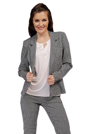 Přiléhavé modrobílé dámské sako s knoflíky 7625