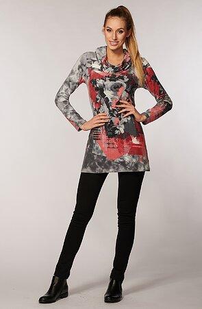 Kratší barevné dámské šaty s květy a dlouhými rukávy 7098