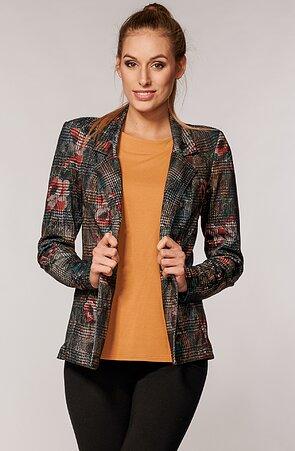 Elegantní barevné kárované dámské sako s kapsami 7604