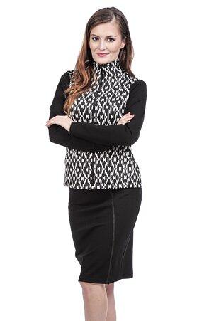 Delší černá dámská sukně s rozparkem 177