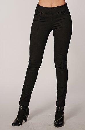 Černé dlouhé dámské kalhoty s úzkými nohavicemi 305