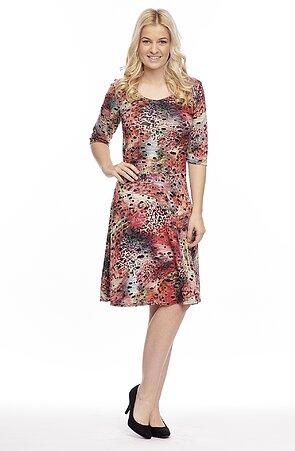 Barevné dámské šaty s 3/4 rukávy 7150