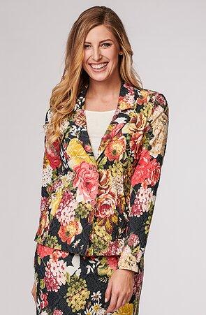 Přiléhavé květinové barevné dámské sako 7627
