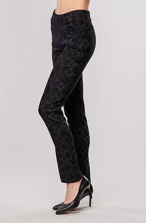 Elegantní rovné černé dámské kalhoty se vzorem 385