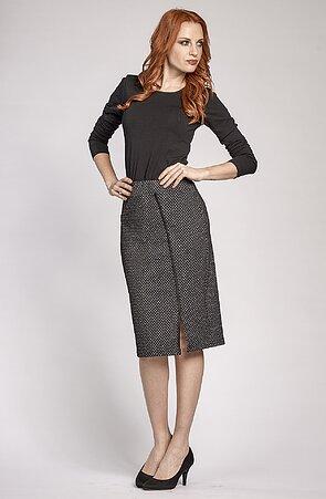 Delší černobílá dámská sukně s rozparkem 155