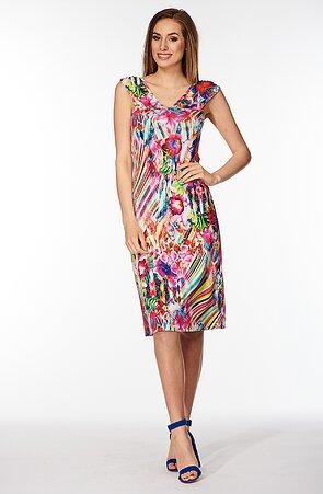 Barevné dámské šaty s širokými ramínky 7078