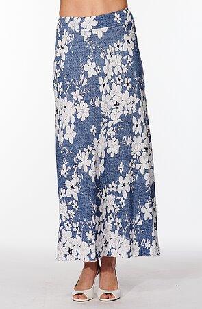 Dlouhá modrá dámská sukně s bílými květy 157