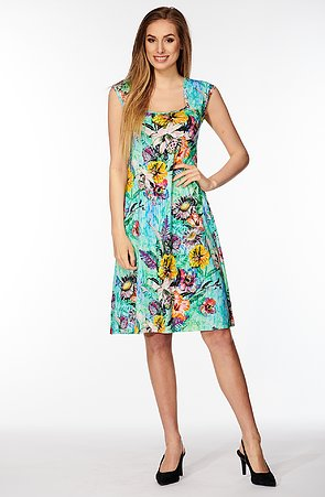 Letní tyrkysové dámské šaty s barevnými květy 7084