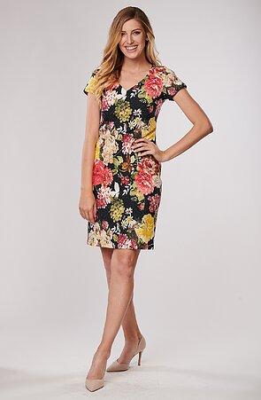 Elegantní barevné květované dámské šaty 7048