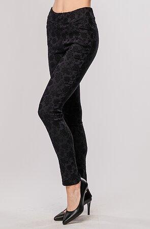 Elegantní úzké černé dlouhé dámské kalhoty se vzorem 347