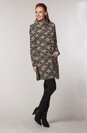 Delší károvaný šedý dámský kabátek s rozparky a kapsami 7665