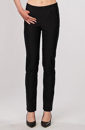 Elegantní rovné teplejší černé dámské kalhoty 399
