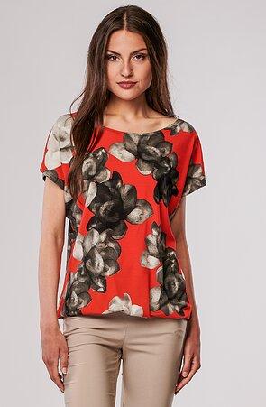 Kimonová červená dámská halenka s květy 7813