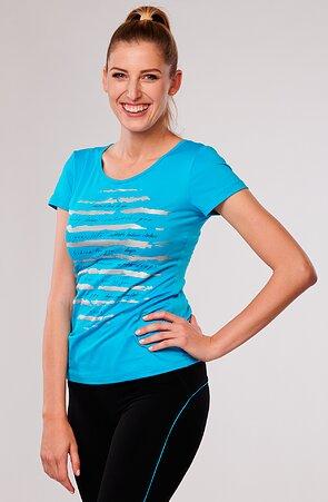 Funkční tyrkysové dámské tričko s potiskem 64 aqu