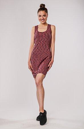 Melírované růžovošedé dámské šaty bez rukávů 7182