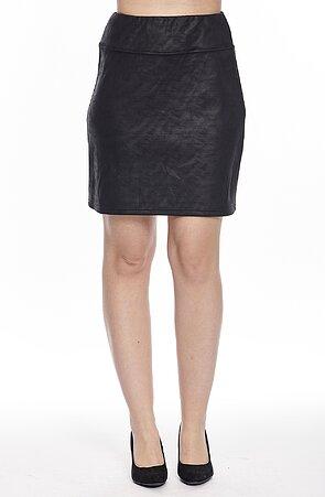 Kratší černá dámská sukně s širokým pasem s imitací kůže 123