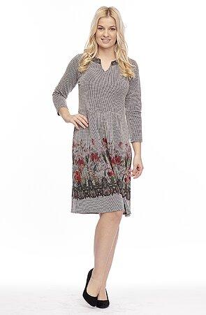Dámské šaty s 3/4 rukávy a květinovou bordurou 7039