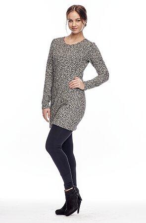 Krátké leopardí dámské šaty s dlouhými rukávy 7074