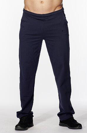 Užší bavlněné tmavě modré pánské kalhoty bez potisku 417
