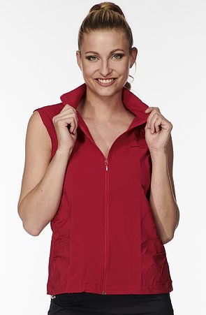 Funkční červená dámská vesta s brzdičkou 691
