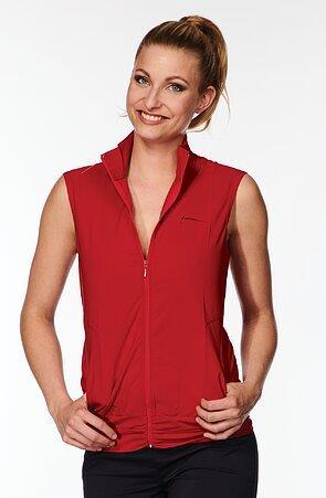 Funkční červená dámská vesta s řasením 697 sil