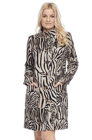 Delší hnědý vzorovaný dámský kabátek se stojákem 7656