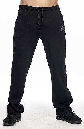 Užší bavlněné černé pánské kalhoty s potiskem 422