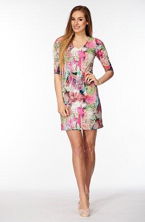 Přiléhavé barevné dámské šaty s 3/4 rukávy 809
