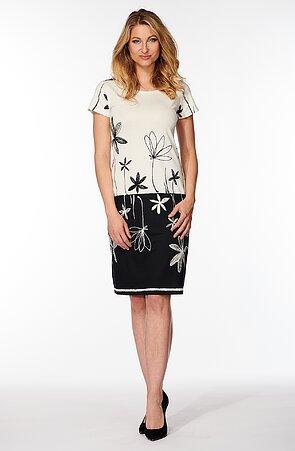 Elegantní černobílé dámské šaty s kytkami 831