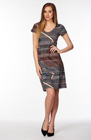 Barevné pruhované dámské šaty s rukávy 7030