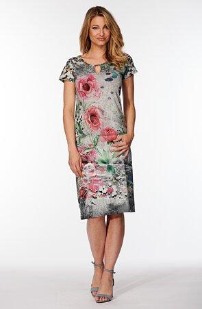 Elegantní barevné dámské šaty s květy 7025