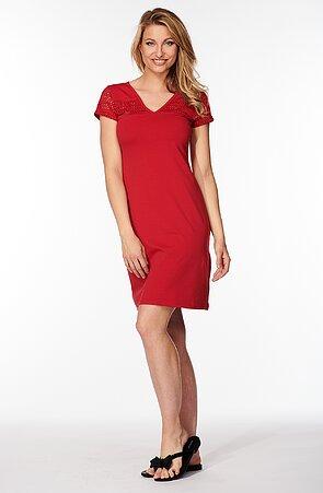 Bavlněné červené dámské šaty s krajkou 7059