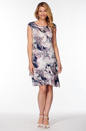 Letní barevné dámské šaty s šikmým volánem 7179