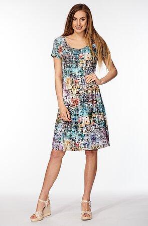 Kimonové barevné dámské šaty s gumkou v pase 7035