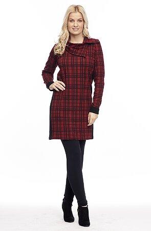 Kratší červené kárované dámské šaty 7052