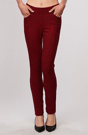 Červené vzorované elegantní dlouhé dámské kalhoty 347