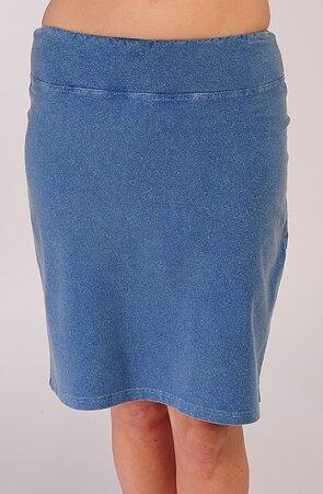 Delší riflová dámská sukně s rozparkem a kapsami 199