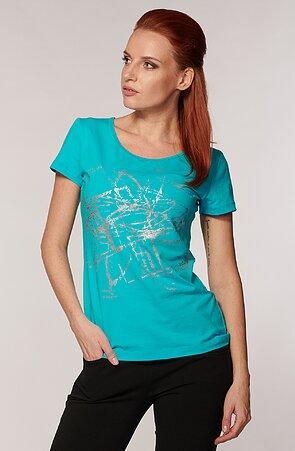 Bavlněné modré dámské tričko s potiskem 54