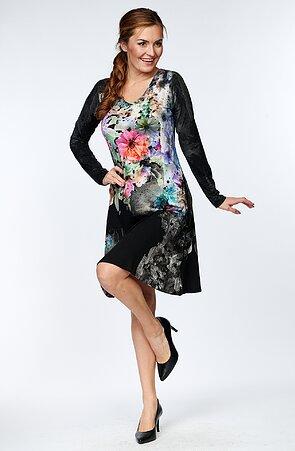 Černé dámské šaty s barevnými květy a dlouhými rukávy 7026